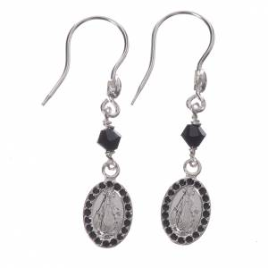 Earrings in 800 silver with Miraculous Medal in black s1
