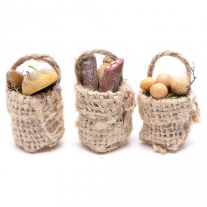 Miniature food: Eggs and sausage baskets 3 pieces