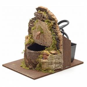 Electric nativity fountain with cork wall 12x10x12cm s2