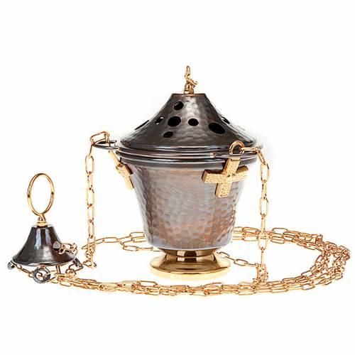 Encensoir et navette en bronze repoussés 7