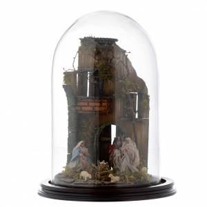 Belén napolitano: Escena pesebre Sagrada Familia campana vidrio base madera 25 cm Belén Napolitano