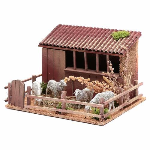 Establo con ovejas en movimiento 14x5x23x20cm s2