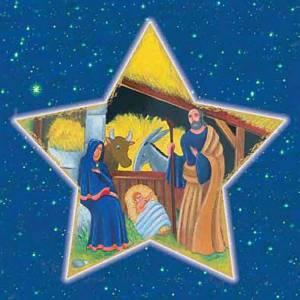 Estampa Natividad forma estrella con cielo s1