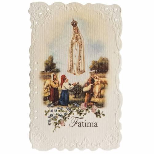 Estampa Our Lady of Fatima con oración (inglés) s1