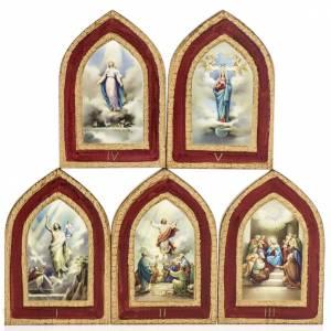 Cuadros, estampas y manuscritos iluminados: Estampa sobre madera Misterios Gloriosos 5 cuadros