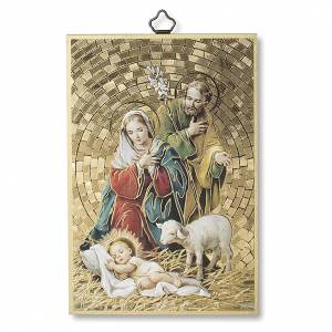 Cuadros, estampas y manuscritos iluminados: Estampa sobre madera Natividad Tu scendi dalle Stelle italiano