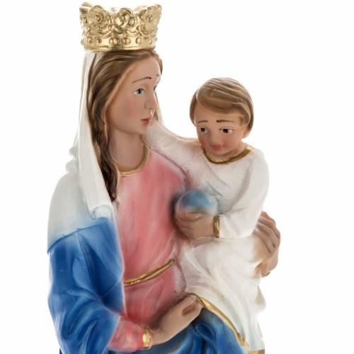 Estatua Virgen del Rosario con león 30 cm. yeso s2