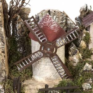 Etable bourg crèche Noel moulin à vent 38x56x30 cm s3
