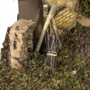 Etable crèche Noel feu et fontaine 30x50x24 cm s3