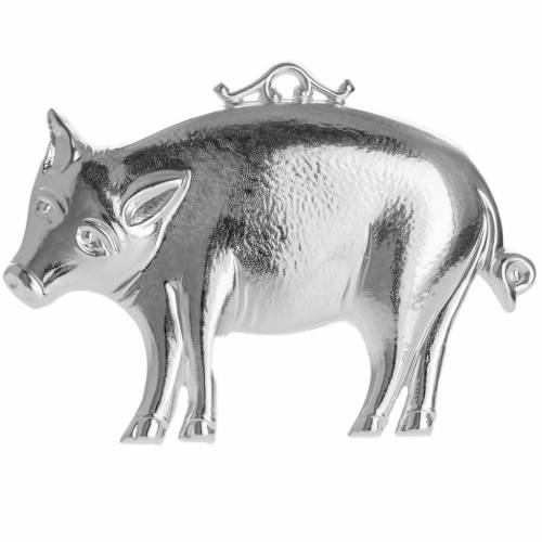Ex-voto, pig in sterling silver or metal, 10 x 6cm s1