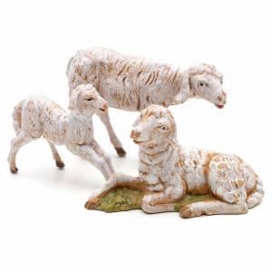 Animali presepe: Famiglia di pecore 3 pz cm 12 Fontanini pvc