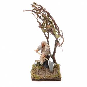 Neapolitan Nativity Scene: Farmer with tree, Neapolitan nativity figurine, 10cm