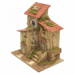Farmhouse with two entrances for nativities 25x21x16cm s3