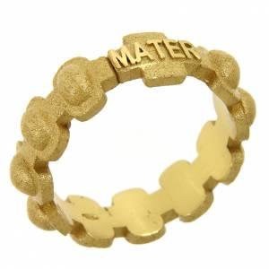 Anelli preghiera: Fedina rosario MATER sabbiata dorata argento 925