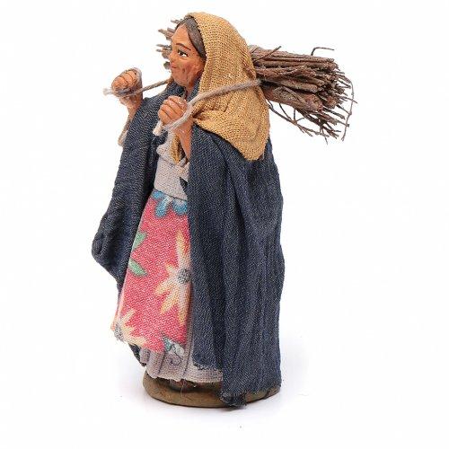 Femme avec bois 10 cm terre cuite s2