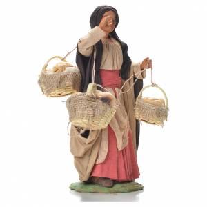 Femme avec paniers de pain 24 cm crèche napolitaine s4