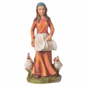 Femme avec poules 30 cm santon résine s4