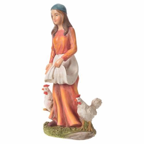 Femme avec poules 30 cm santon résine s2