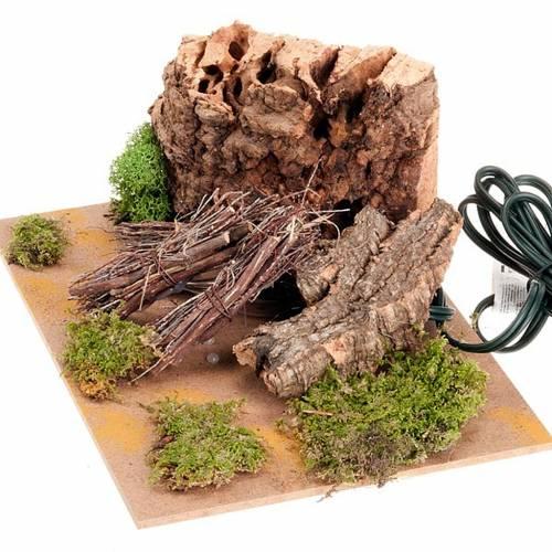 Feu électrique  pour crèche avec rocher en li&egra s3