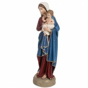 Fiberglas Statuen: Fiberglas Gottesmutter blauer und roter Mantel 85 cm