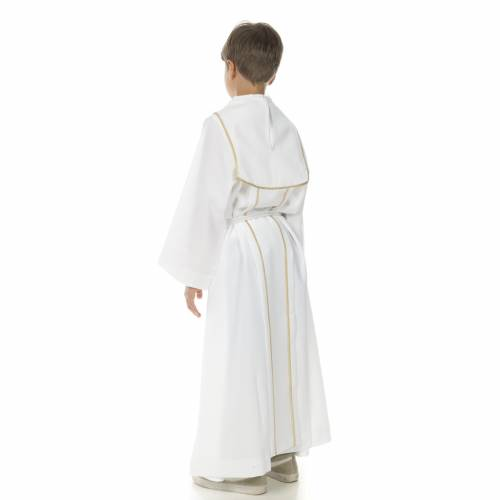 First Communion alb for boy, honeycomb embroidery s4