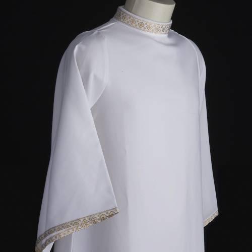 First communion alb for girl golden sleeves edge s5
