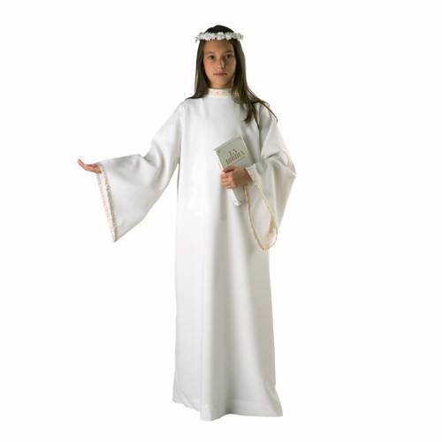 First communion alb for girl golden sleeves edge s1