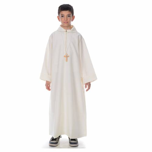 First Communion alb, simple, ivory s1