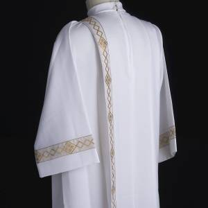 First Communion Albs: First communion alb with 2 pleats and golden edge