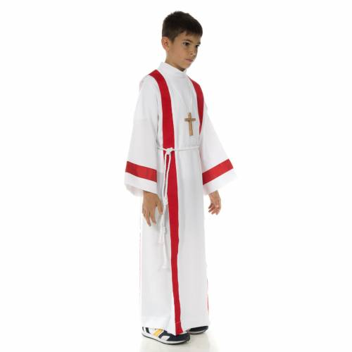 First communion alb with red edges s2