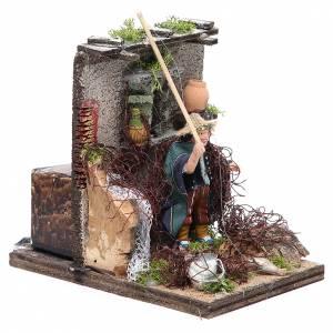 Fisherman animated figurine for Neapolitan Nativity, 10cm s3