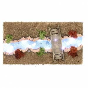 Ponte presepe, ruscelli, staccionate: Fiume luminoso con ponticello 30x20 cm