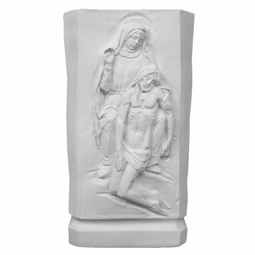 Flower vase in reconstituted marble with Mary and Jesus s1