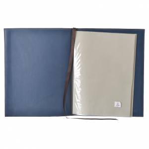 Folder for sacred rites in blue leather, hot pressed cross Bethleem, A4 size s3