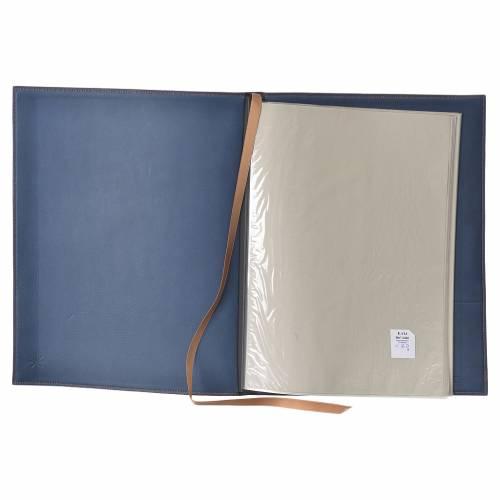 Folder for sacred rites in blue leather, hot pressed golden cross Bethleem, A4 size s3