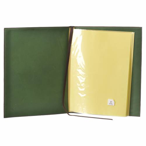Folder for sacred rites in green leather, hot pressed cross Bethleem, A4 size s3