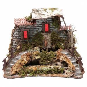 Ambientazioni, botteghe, case, pozzi: Fontana con casetta sul fiume 25x30x25 cm
