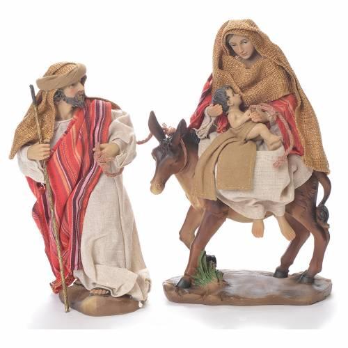 Fuga dall'Egitto 24 cm resina stoffa rosso beige s1