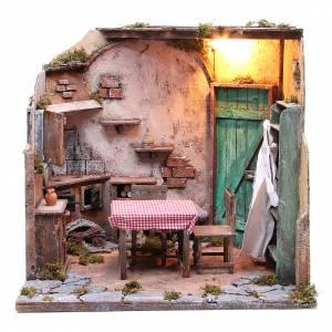 Neapolitan Nativity Scene: Furnished, illuminated house for Neapolitan Nativity 42x65x38cm