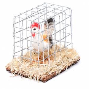 Animales para el pesebre: Gallo en jaula 3 cm pesebre surtido