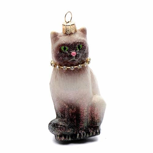 Gato siamés adorno vidrio soplado Árbol de Navidad s1