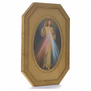 Bilder, Miniaturen, Drucke: Geformtes Druckbild auf Holz Göttliche Barmherzigkeit 19 x 14 cm