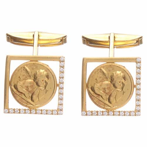 Gemelli gioielli argento 800 Angelo Raffaello 1,7x1,7 cm s1