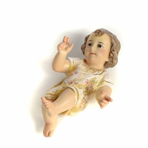 Gesù Bambino 15 cm in pasta di legno dec. extra s2