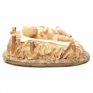 Gesù Bambino con culla in resina dipinta per presepe cm 16 Linea Landi s2