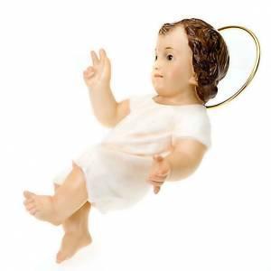 Statue Gesù Bambino: Gesù Bambino pasta legno benedicente cm 25 dec. elegante