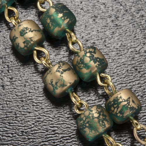 Ghirelli green golden rosary Lourdes Grotto 5 mm s5