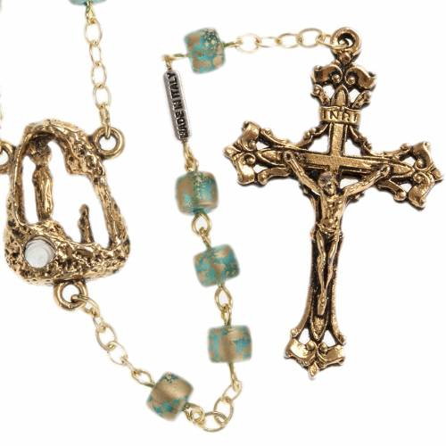 Ghirelli green golden rosary Lourdes Grotto 5 mm s1