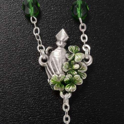 Ghirelli rosary, Saint Patrick green glass 7mm s5