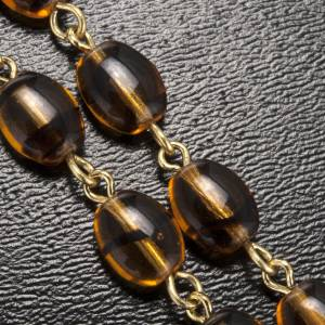 Ghirelli rosary with Father Pio, amber beads 6x8mm s6